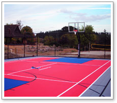 Backyard multi sports flooring basketball court racquet for Backyard multi sport court